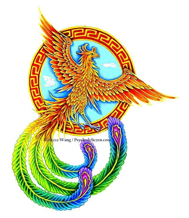 Chinese Phoenix Vermilion Bird By Psychedeliczen Bird Art Print Phoenix Bird Art Phoenix Art