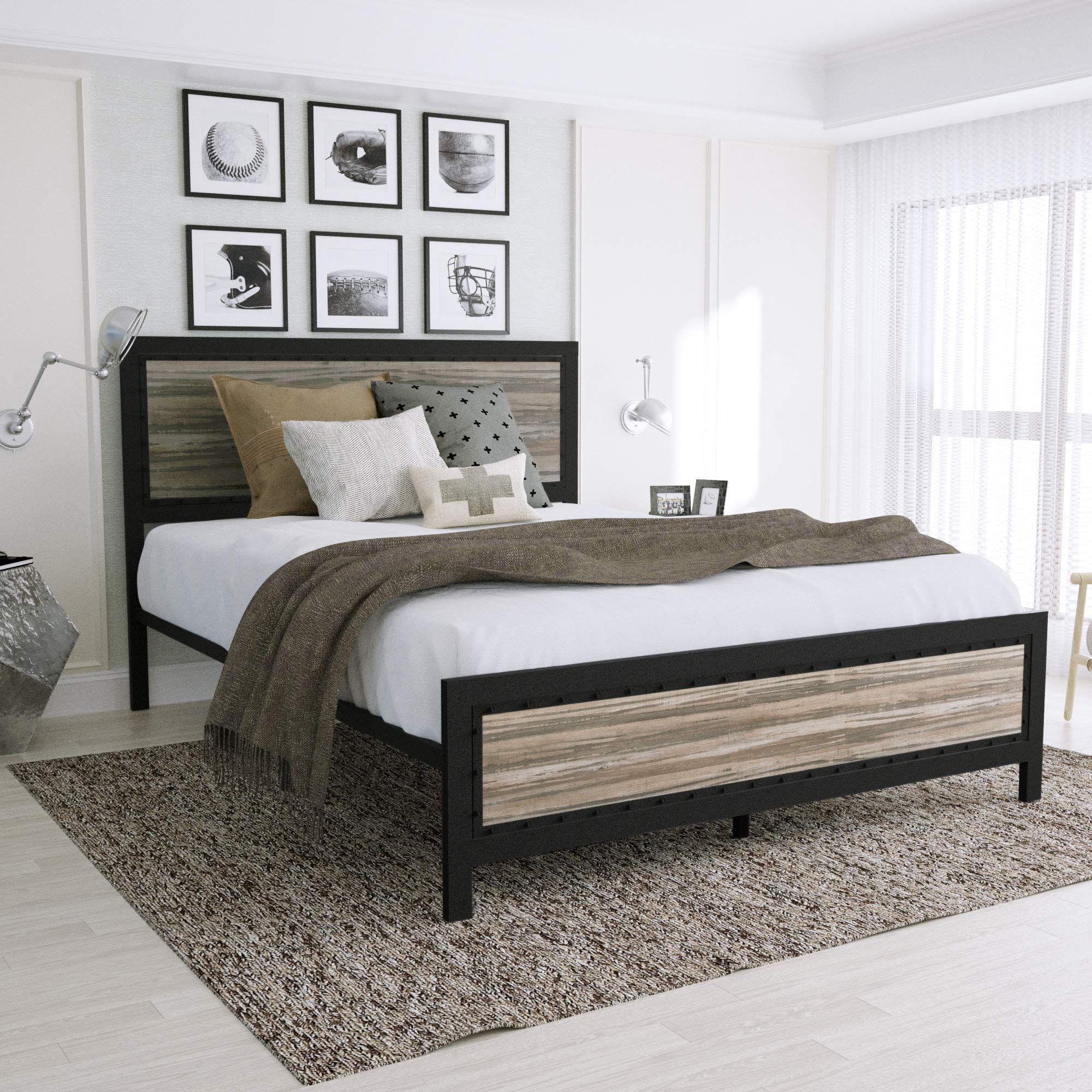 Urest Queen Size Bed Frame with Headboard/Platform Bed