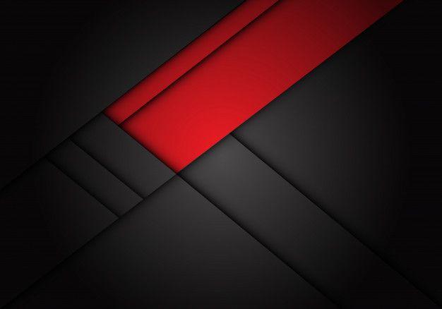 Red label overlap on dark grey metallic   Premium Vector