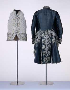 Heren vest Zijde; katoen ca galajas Inventarisnummer en 1790 AAgqrZ