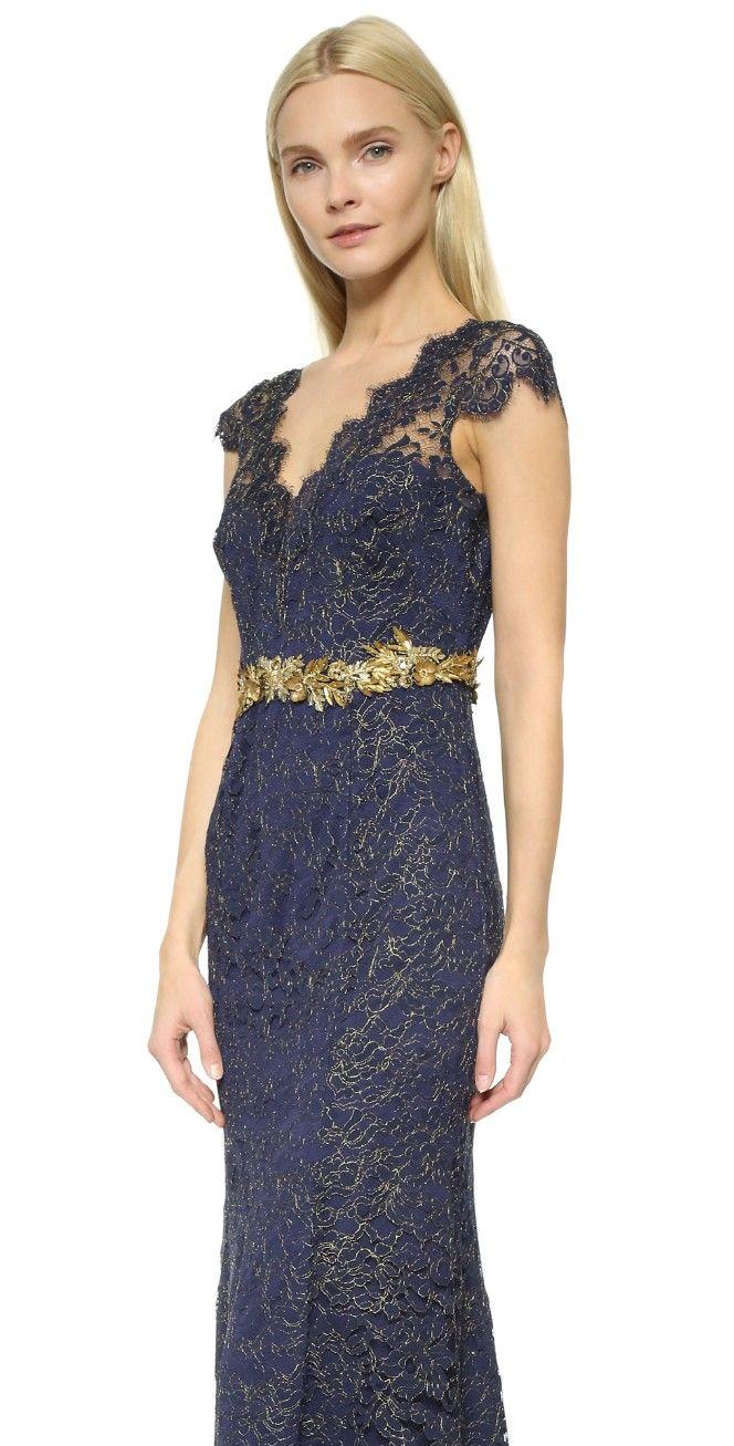 Marchesa Notte Metallic Lace Gown | SHOPBOP