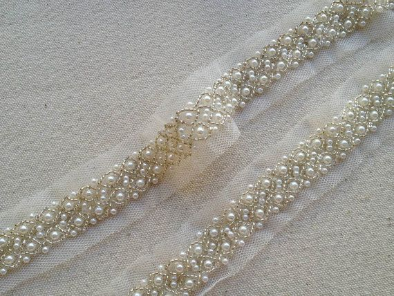 IVORY 15m wide Lace and Pearl Beaded Trim Ribbon Wedding Bridal Trimming