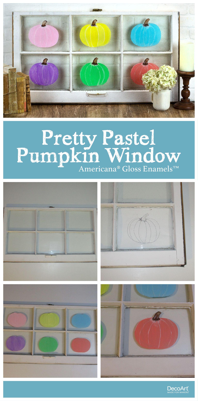 Pretty Pastel Pumpkin Window Project by DecoArt Fall