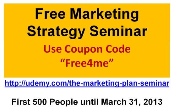 The first 500 people who order this online course can get it at no charge until March 31, 2013. Get marketing magic today.