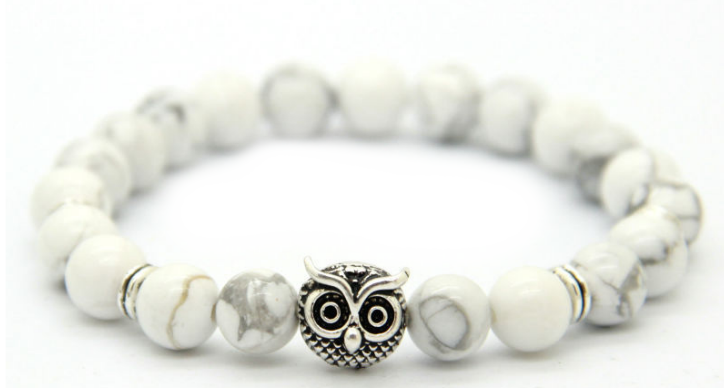 White Marble Silver Alpha Owl Bracelet In 2019 Things For Gifts