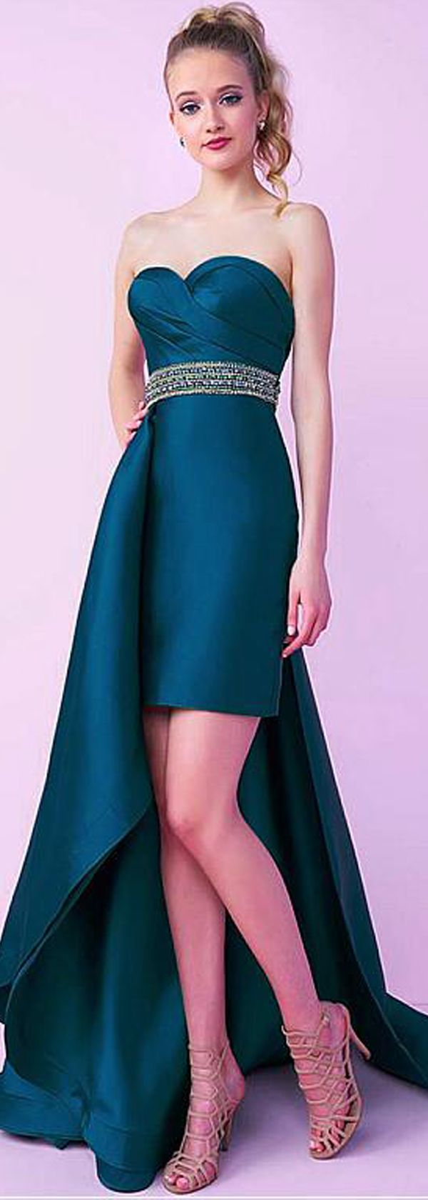 Elegant satin sweetheart neckline sheath column prom dresses with