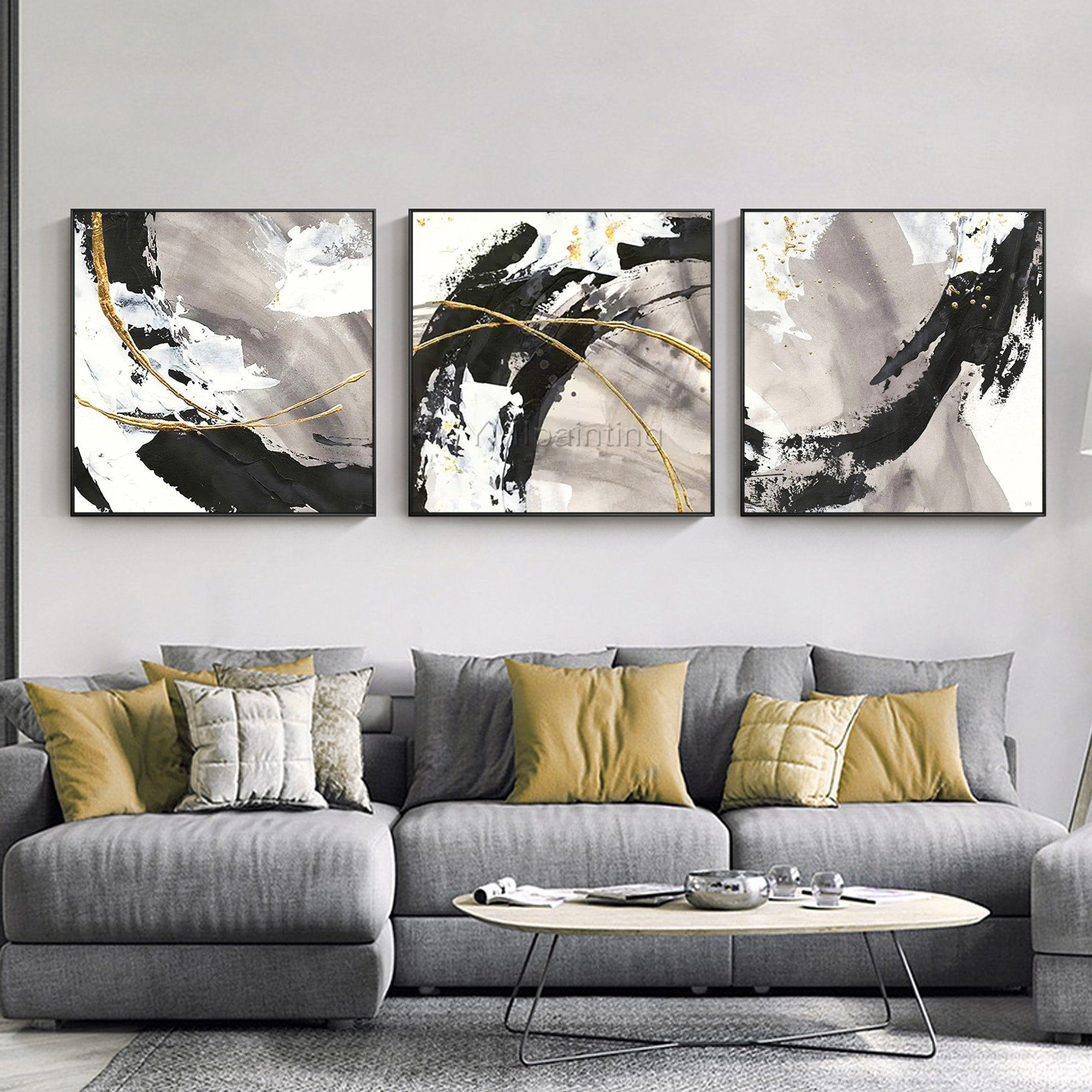 3 Pieces Gold Art Abstract Paintings On Canvas Set Of 3 Wall Etsy In 2021 Multi Canvas Painting Abstract Canvas Painting 3 Piece Canvas Art