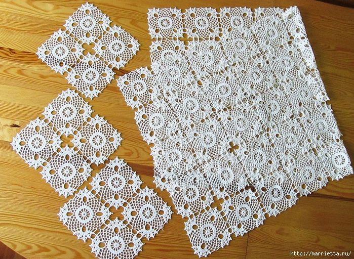 Вязание крючком схемы скатерти салфетки узоры