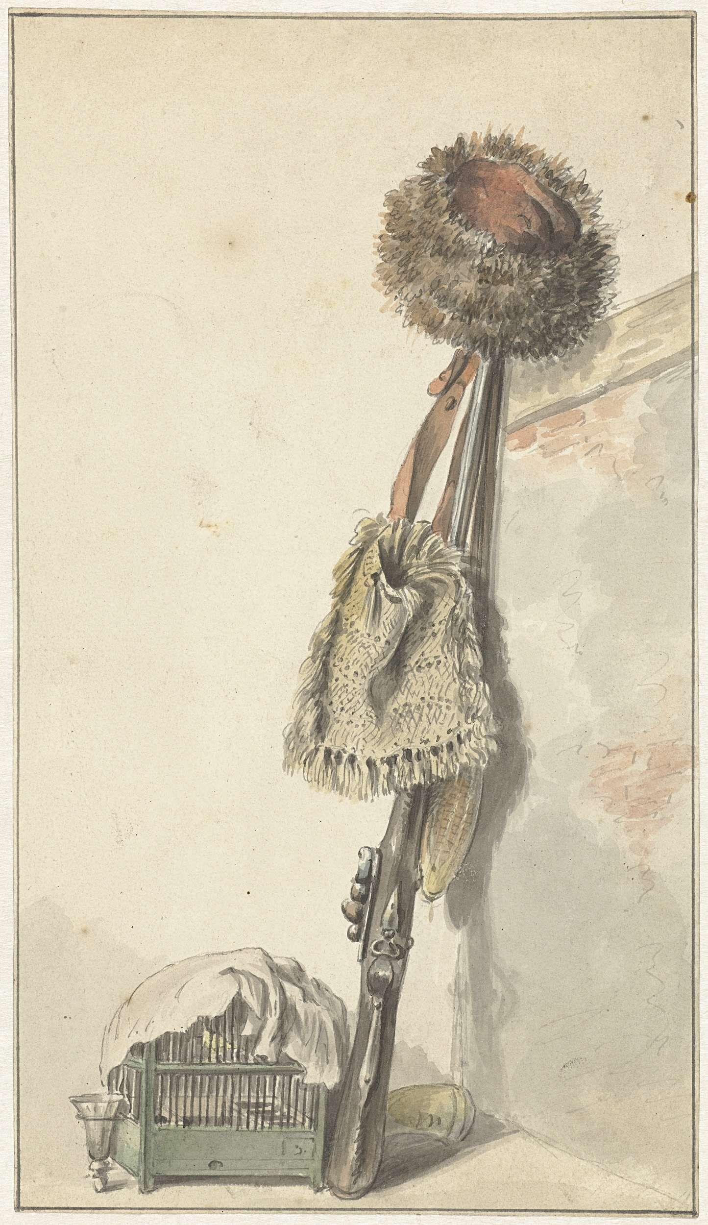 Jacob van Strij | Jachtstilleven met vogelkooi, Jacob van Strij, 1766 - 1815 | Jachtstilleven met vogelkooi, geweer, kruithoorn, weitas en bontmuts.