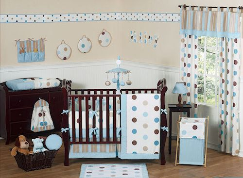 Royal Blue And Yellow Baby Bedding Blue Brown Polka Dot Baby Crib Bedding 9pc Gir Baby Crib Bedding Sets Baby Bedding Neutral Gender Neutral Baby Bedding