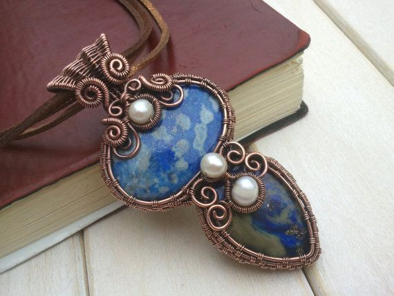 Sea Goddess Necklace - Lapis lazuli Pendant - Wire Wrapped Jewellery ...