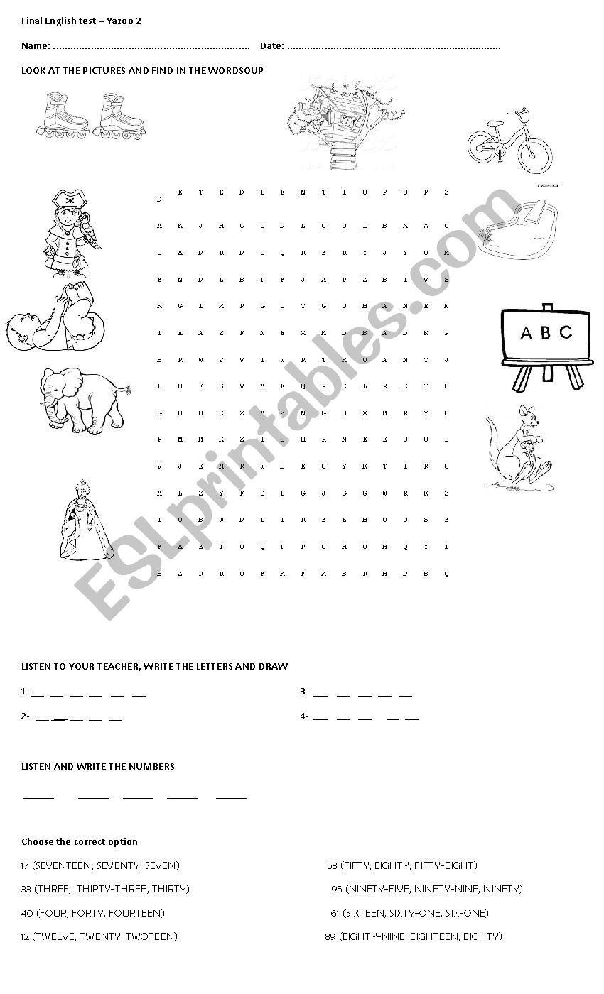 YAZOO 2 FINAL EXAM PART 1 - ESL worksheet by nadiac_17