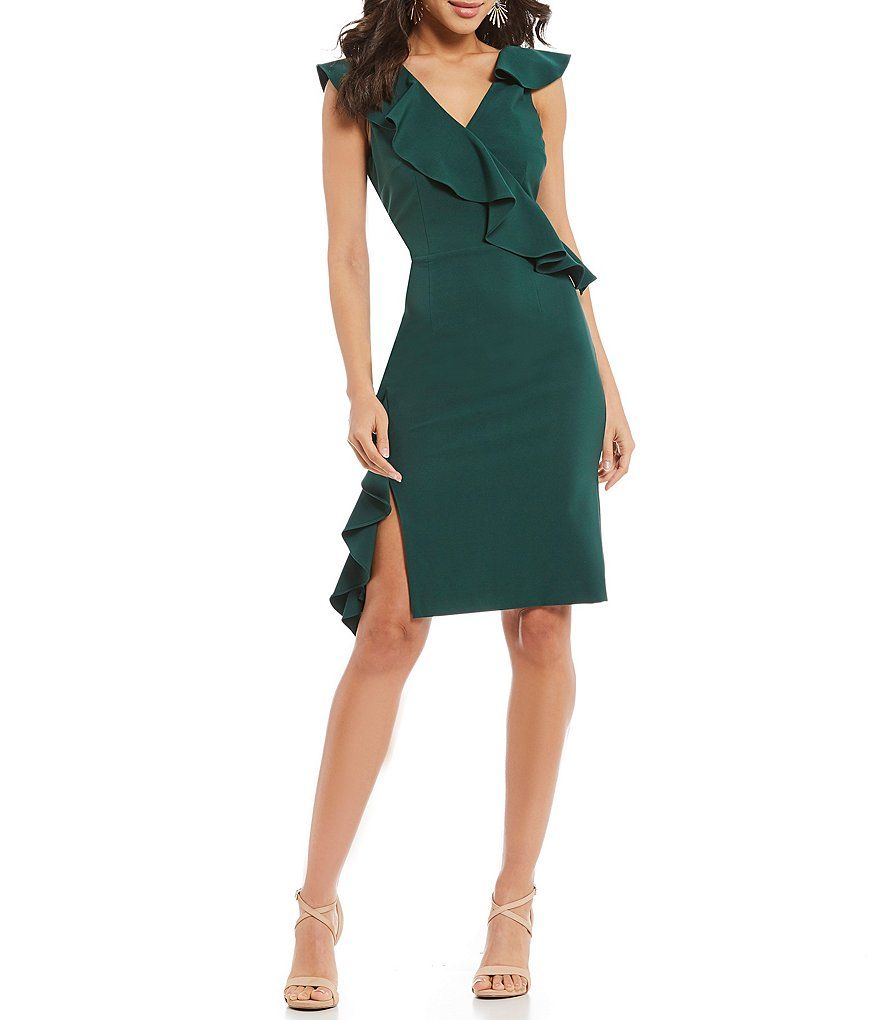 8f76cd0773 Gianni Bini Brittany Ruffle Statement Shoulder Surplice V-Neck Side Slit  Sheath Dress