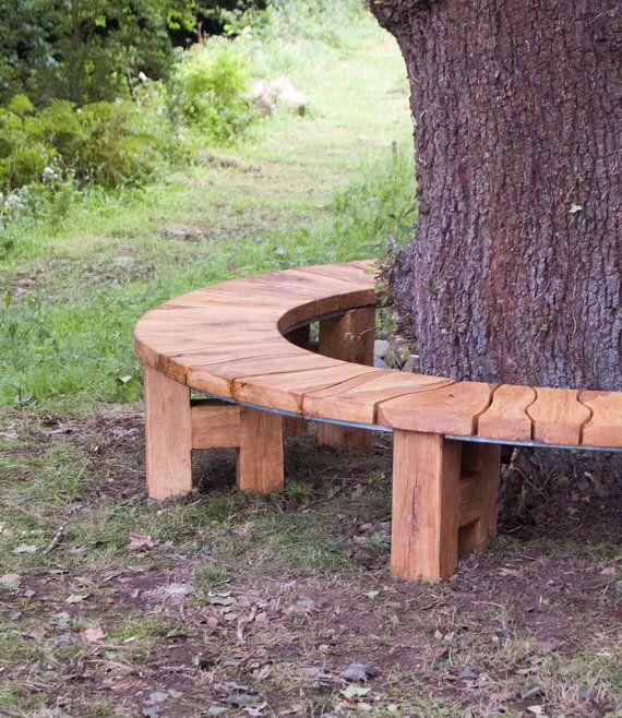 Curved Bench Oak Tree Seat Garden Furniture Garden Bench Rustic Furntiure Garden Bench Rustic Bench Around Trees Garden Bench