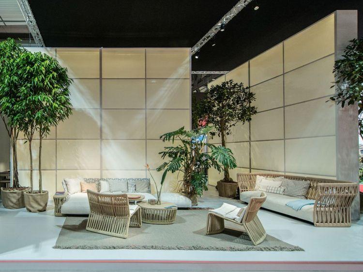 loungemoebel garten sofa sessel set kaffeetisch rattan Terrasse