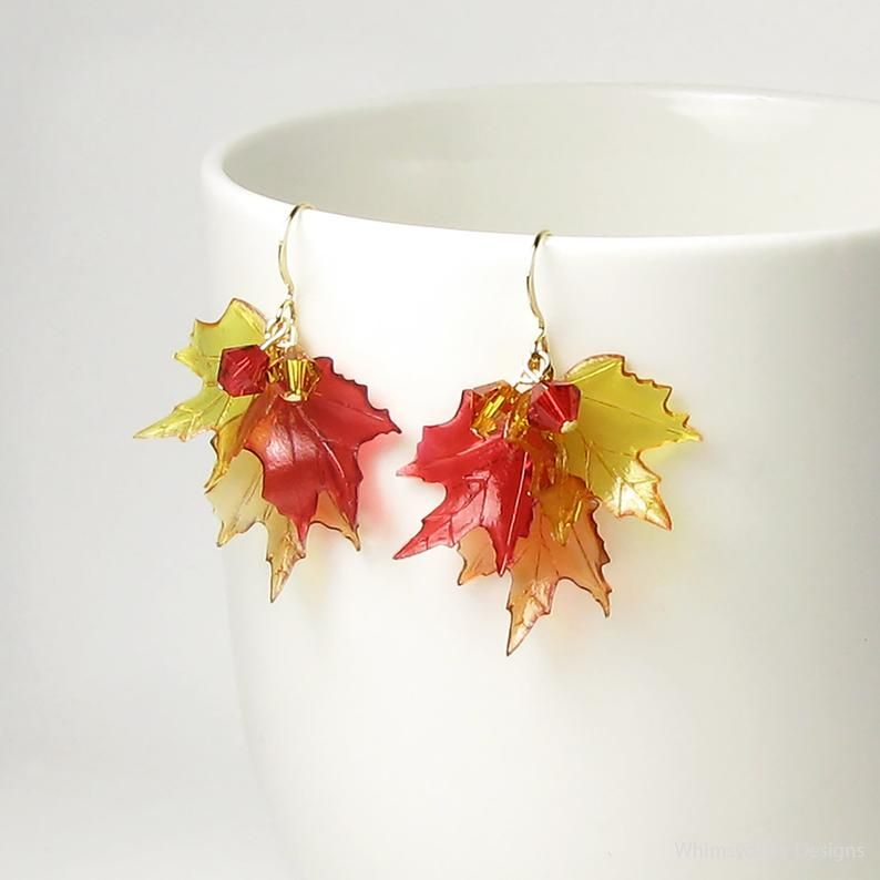 Falling Autumn Leaves Swarovski Crystal Fall Leaf Gold Earrings Acrylic Maple Tree Jewelry Golden Amber Red Topaz Brown Modern Holiday Gifts #autumnleavesfalling
