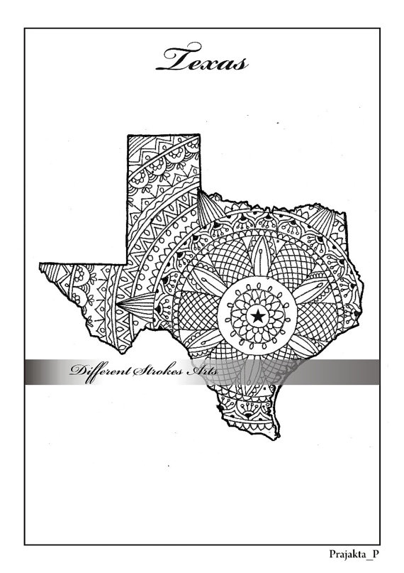adult coloring maps, Texas map, states maps coloring pages