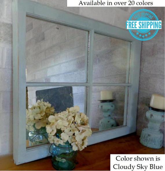Rustic Country 4 Pane Window Mirror Lane Of Lenore Mirror Wall Mirror Decorative Wall Mirror Art Available In 20 Colors Sky Blue Window Mirror Mirror Mirror Art