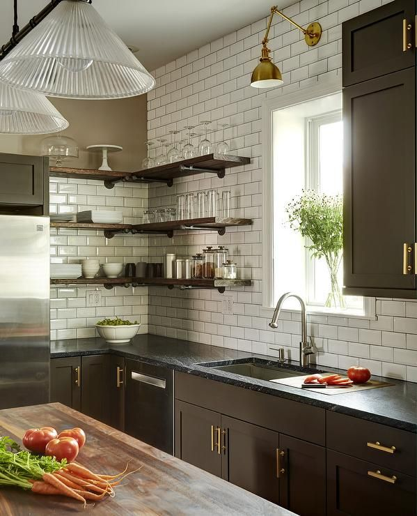 Best Gorgeous Brown Kitchen Is Fitted With L Shaped Wood 400 x 300