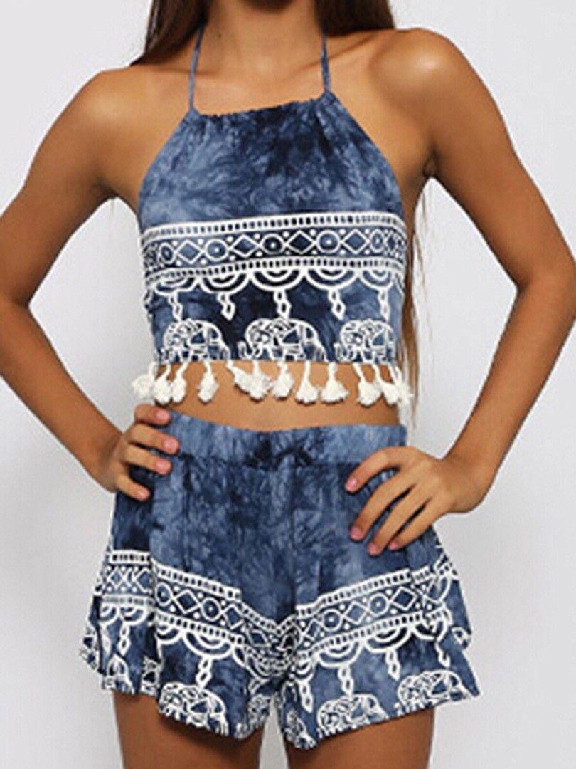 a0a65bd8b933 Blue,Halter,Elephant Print,Tassel,Backless,Crop Top And Shorts ...