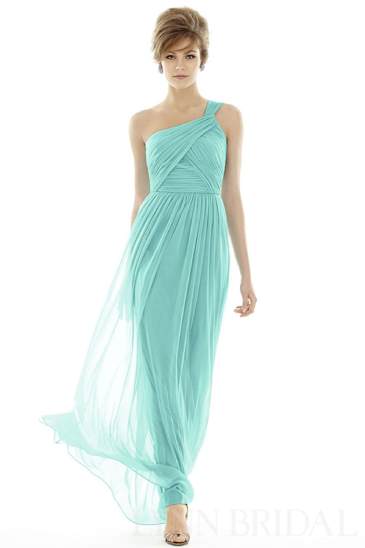 Turquoise wedding dresses  Column One Shoulder Crisscross Chiffon Long Bridesmaid  Party Dress