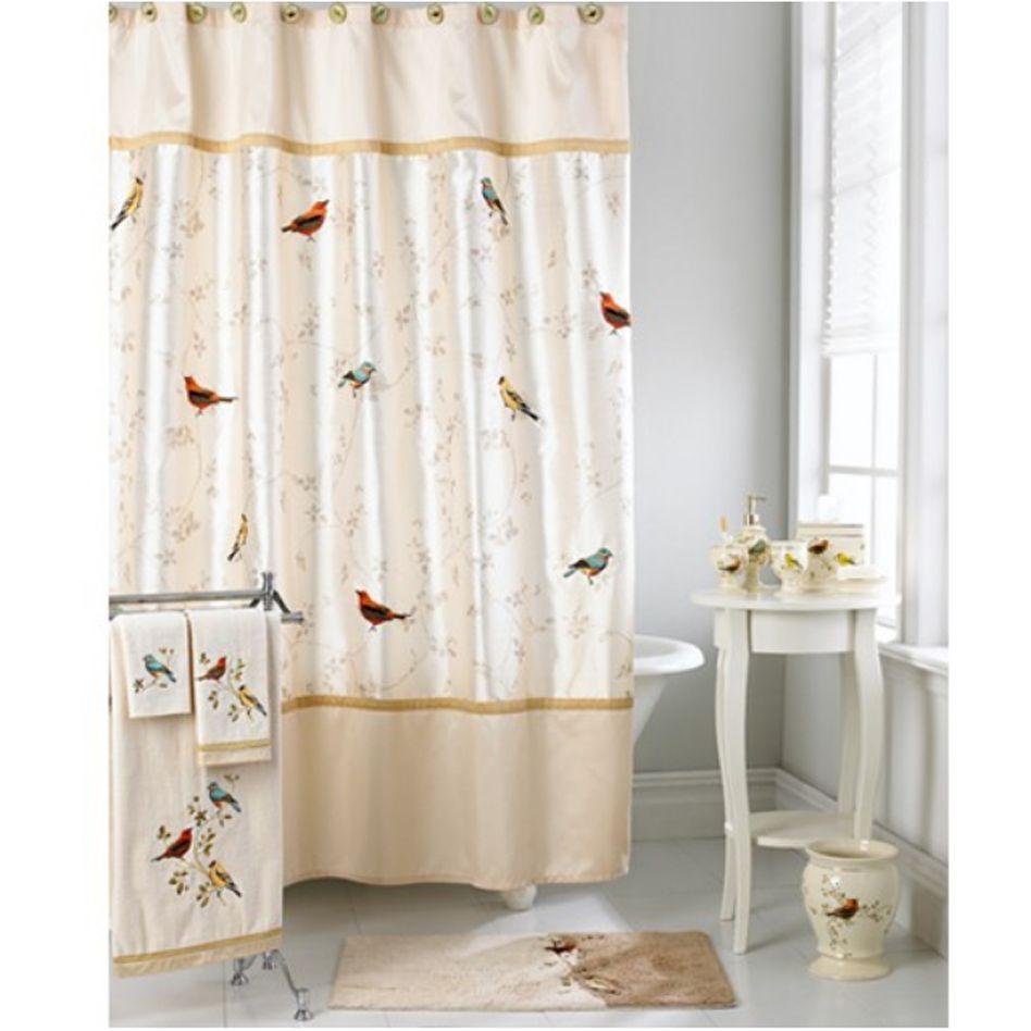 Avanti Gilded Birds Shower Curtain And Bath Accessories Bird