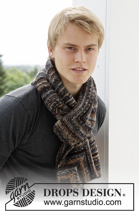 """Knitted DROPS men\'s scarf with domino squares in """"Fabel"""". ~ DROPS ..."""