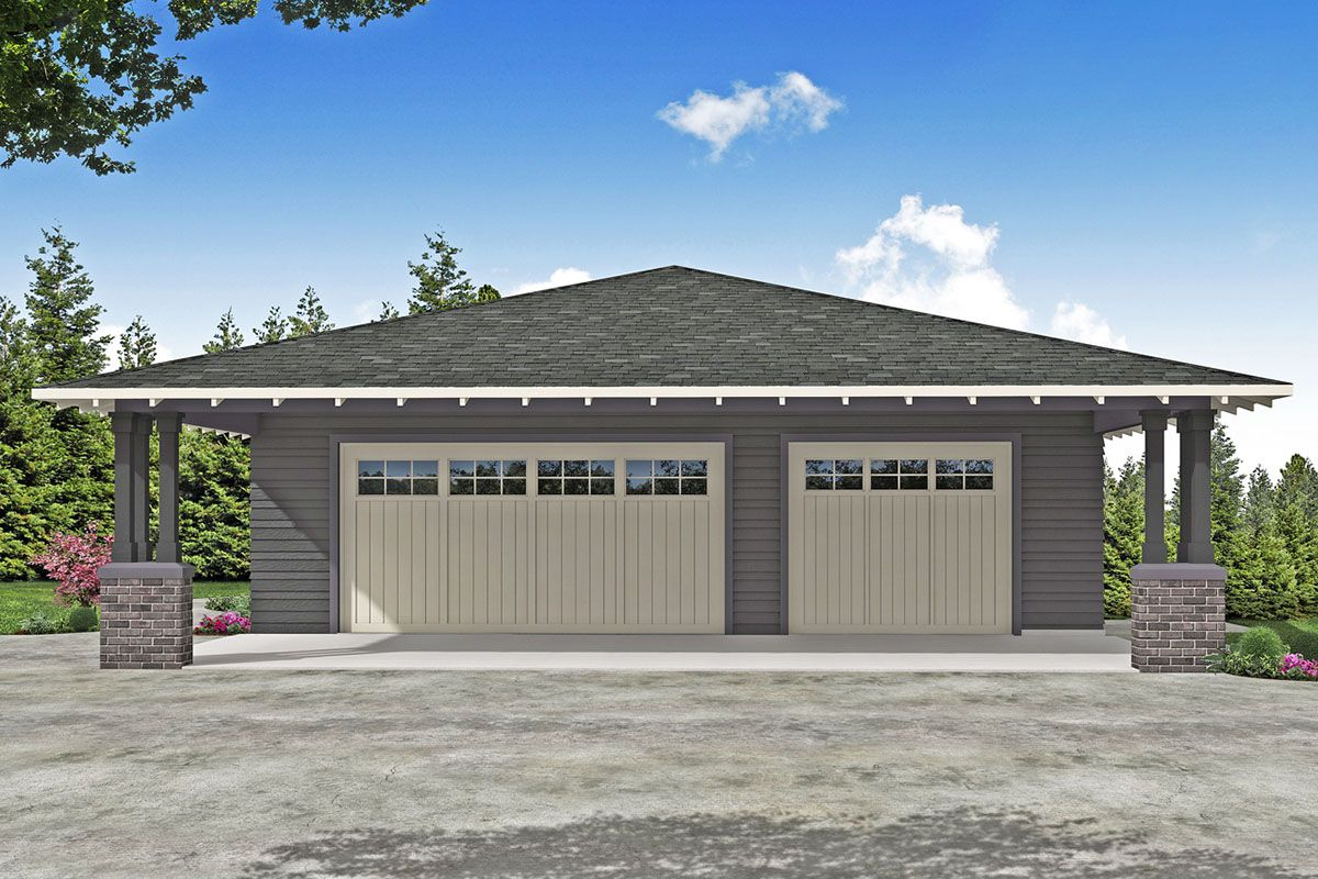 Plan 72993da 3 Car Garage With Attached Carport In 2021 Plans Prairie Style Houses