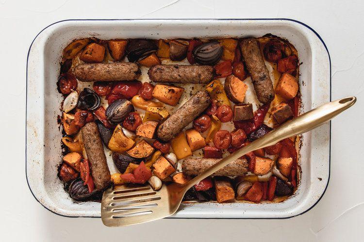 Veggie Tray Bake Madeleine Olivia Veggie Tray Veggie Sausage Tray Bakes