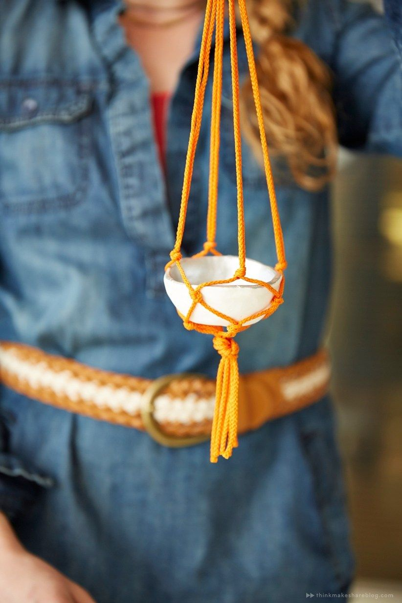 How To DIY mini macramé plant hangers is part of Macrame plant hangers, Macrame hanger, Macrame plant hanger patterns, Diy plant hanger, Diy macrame plant hanger, Macrame plant - Think Make Share contributor Jessica teaches us how to make tiny macramé hangers for small treasures  (A blog from the Creative Studios at Hallmark )
