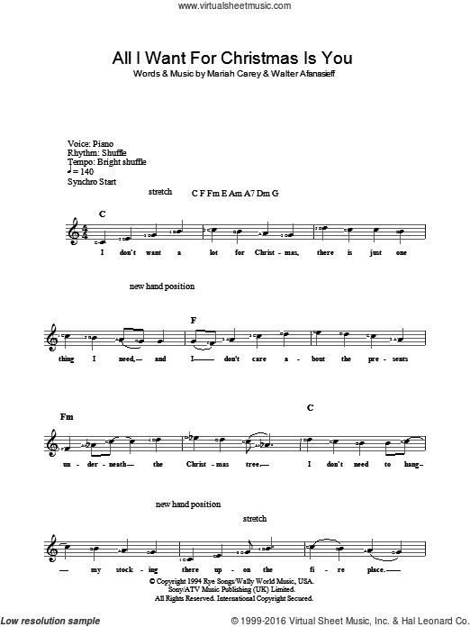 Carey All I Want For Christmas Is You Sheet Music Fake Book Version 2 Fake Book Sheet Music Christmas Sheet Music Music