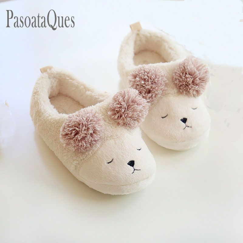 5b7c40c31ce Cute Winter Women Home Slippers House Shoes For Indoor Bedroom House Soft  Bottom Cotton Warm Adult Guests Flats Christmas Gift