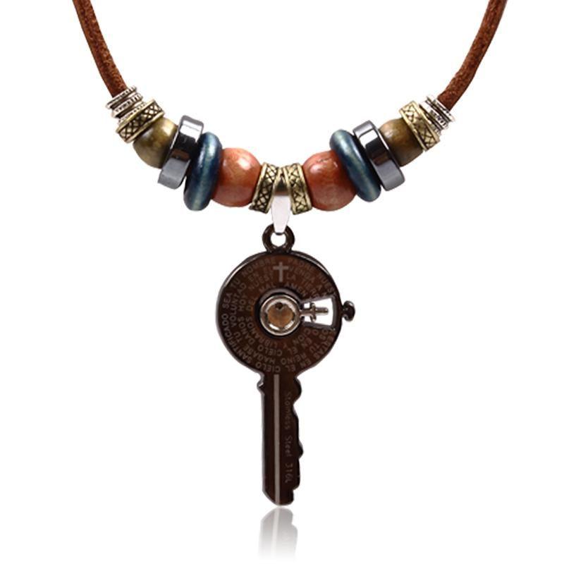 Gde korean mens leather necklace key pendant necklace retro fashion gde korean mens leather necklace key pendant necklace retro fashion jewelry necklace men rose gold pendant aloadofball Image collections