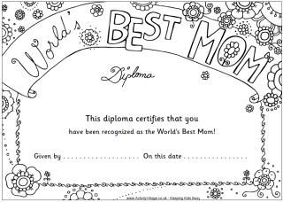 Colouring Diplomas With Images Mother S Day Activities