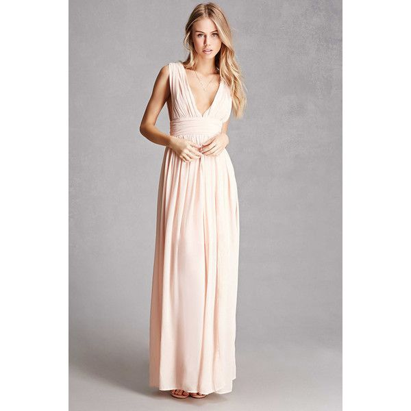 525ede2832 Forever21 Soieblu Plunging Maxi Dress ($58) ❤ liked on Polyvore featuring  dresses, blush, slit dress, front slit maxi dress, plunge dress, plunging  ...