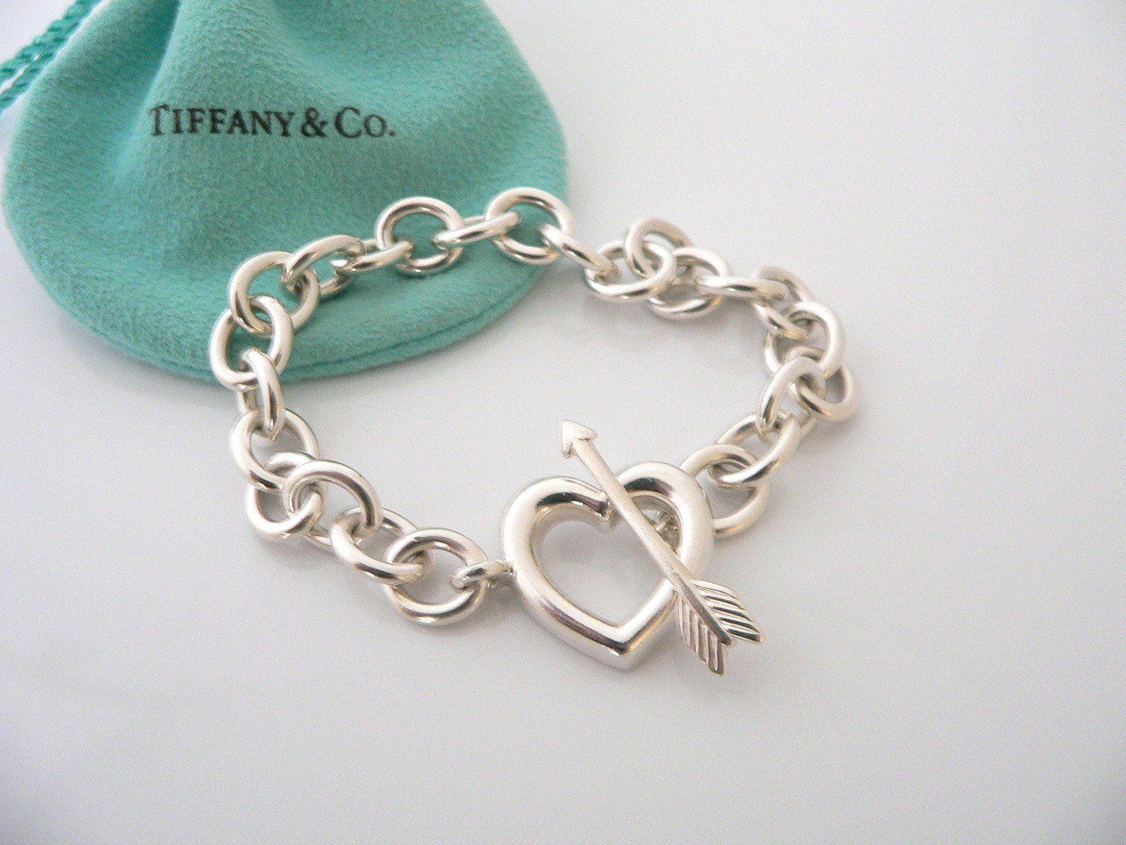 ca97d861f Tiffany & Co Silver Heart Arrow Toggle Bracelet Bangle Chain Rare ...