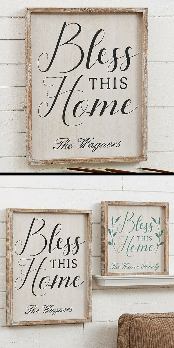 Personalized Bless This Home Barnwood Frame Wall Art - 14x18 | For ...