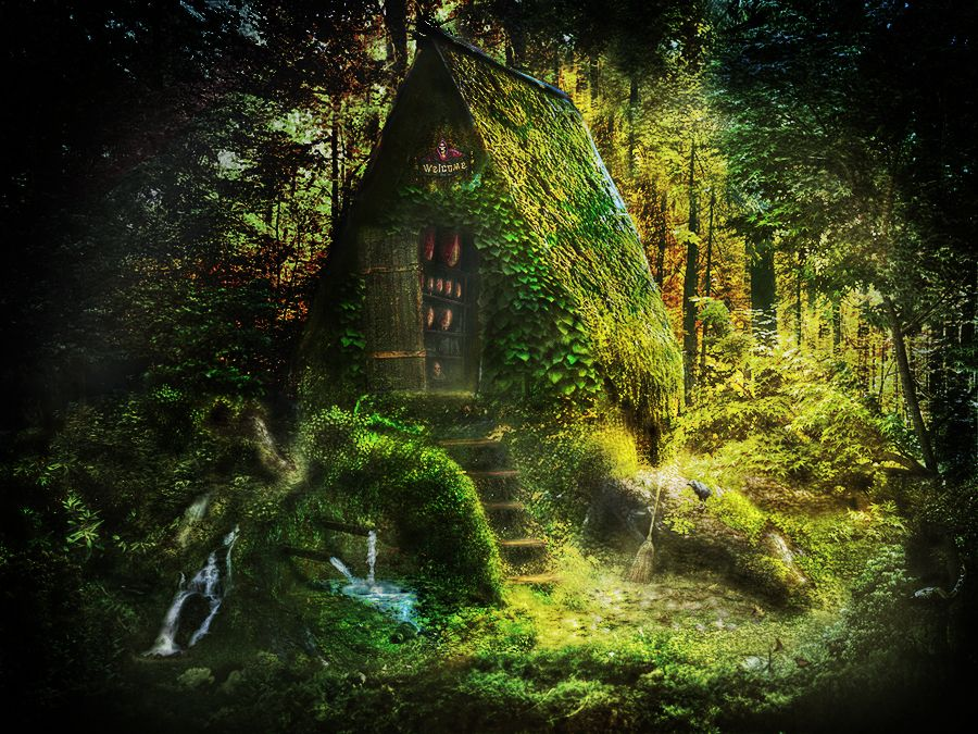 Witch house nature forest woods house witch halloween fairy witchy pinterest halloween - Houses woods nature integrated ...