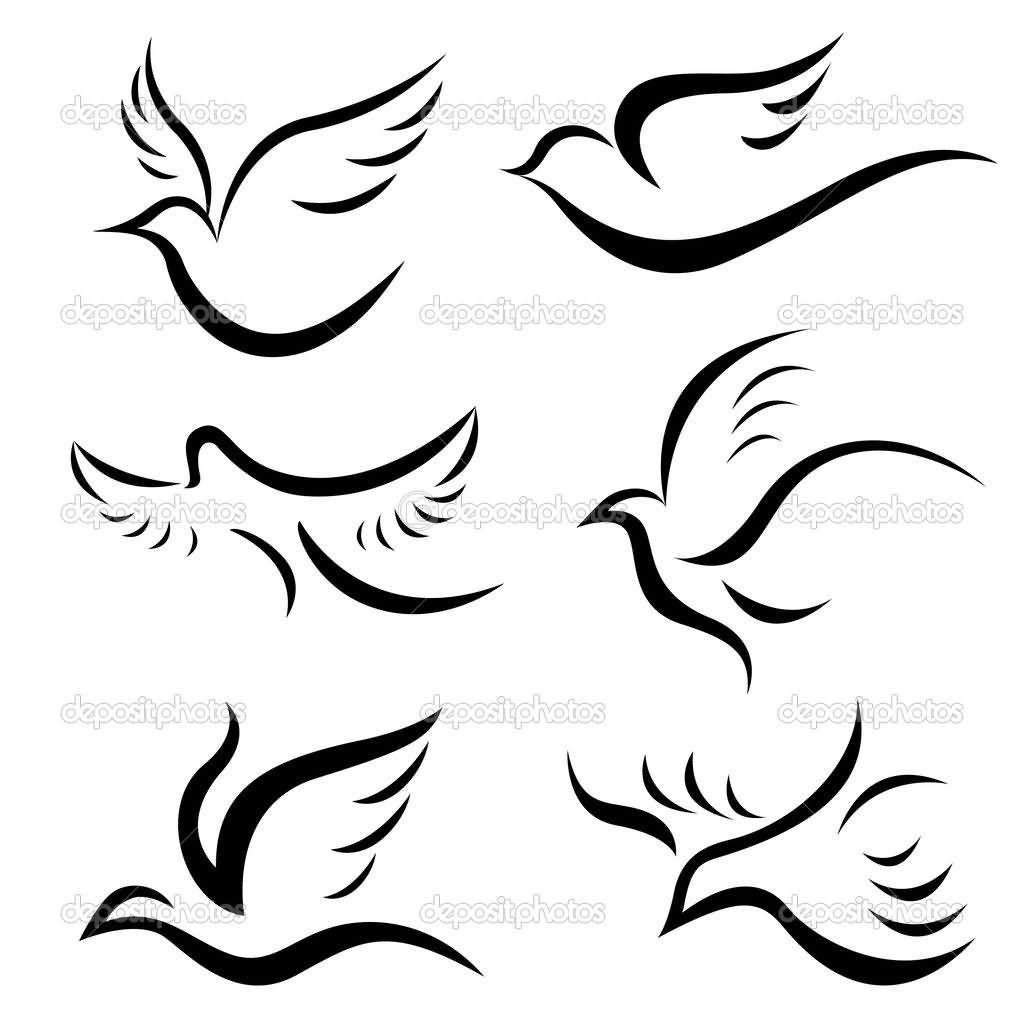 Unique Black Six Birds Tattoo Stencil Simple Bird Tattoo Dove Tattoos Dove Tattoo