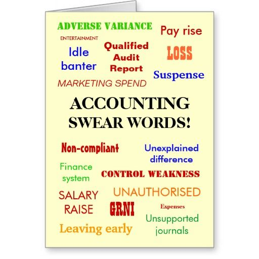 Accounting Swear Words! Accountant Humor Card Accounting humor - birthday card template