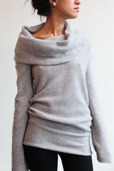 Grey Plain Turn Down Collar Boat Neck Off Shoulder Loose Knitwear