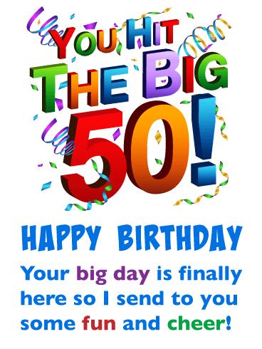Fun and Cheer - Happy 50th Birthday Card | Birthday & Greeting Cards by Davia | Happy 50th birthday, Happy 50th birthday sister, Happy 50th birthday wishes
