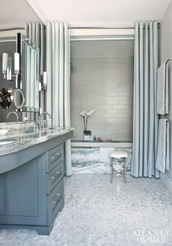 Superbe Beautiful Blue Bathroom With Marble And Oversized Shower Curtains...  Bathroom Decor Ideas: Luxurious Shower Curtains From Bathroom Bliss By  Rotator Rod
