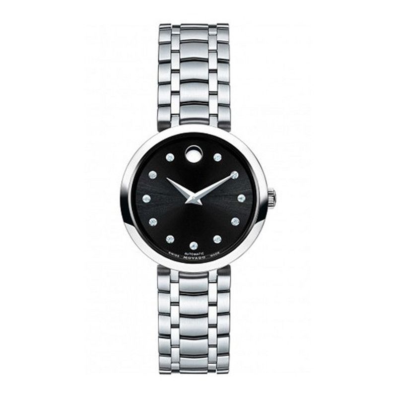 Movado 1881 Automatic Black Dial Stainless Steel Women's Watch