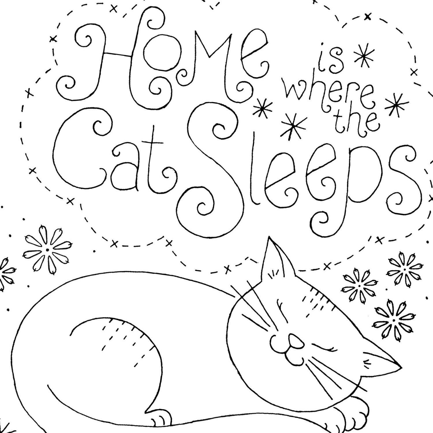 Embroidery pattern cat sleeping cat sleeping embroidery and patterns