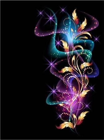 Glühend Hintergrund mit Rauch, Sternen und goldener Verzierung