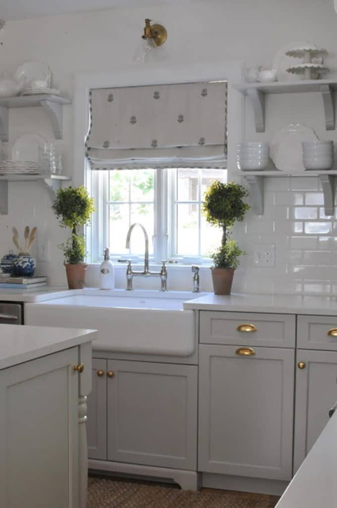 Repose Gray on kitchen cabinets by Nine & Sixteen Home images