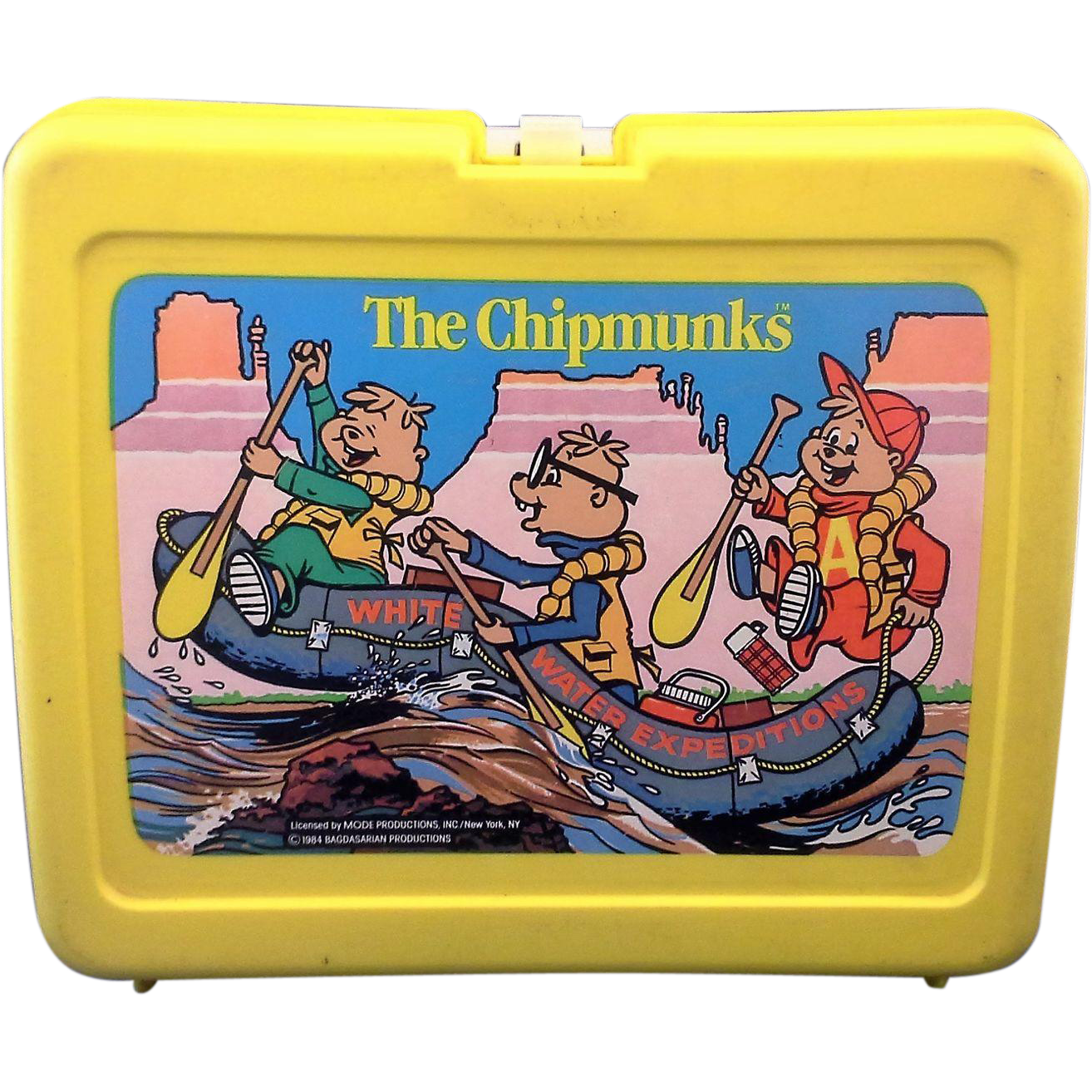 Alvin And The Chipmunks Yellow Plastic Lunchbox 1984 Alvin And The Chipmunks Chipmunks Lunch Box