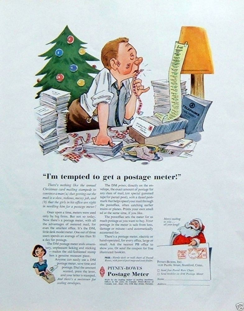 1957 Vintage Ad: Pitney-Bowes Postage Meter Office Guy Christmas Card Mailing
