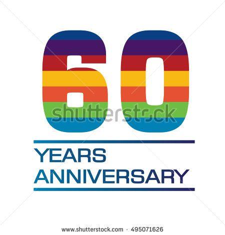 60 Years Anniversary Logo With Rainbow Color For Birthday Wedding Celebration